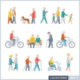 Oudere Mensen op de straat buren Stock Illustratie