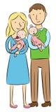 Ouders die hun babytweelingen houden Royalty-vrije Illustratie