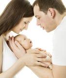 Ouders en baby Familiemoeder, vader, pasgeboren chils Royalty-vrije Stock Afbeelding