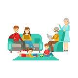 Ouders en Grootouders die Jonge geitjes op Spel, Gelukkige Familie letten die Goede Tijd samen Illustratie hebben Royalty-vrije Stock Foto