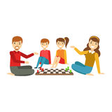 Ouders en Jonge geitjes die Schaak, Gelukkige Familie spelen die Goede Tijd samen Illustratie hebben stock illustratie