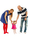 Ouders met baby eerst stappen royalty-vrije stock foto's