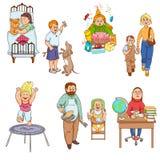 Ouders met de pictogrammeninzameling van het kinderenbeeldverhaal Royalty-vrije Stock Afbeeldingen