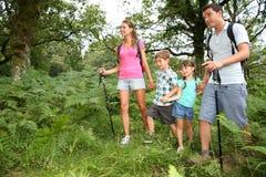 Ouders met jonge geitjes in bos Stock Foto