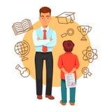 Ouderschap en onderwijsconcept met pictogrammen Stock Afbeelding