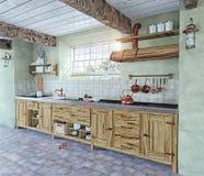 Ouderwets keukenbinnenland Royalty-vrije Stock Afbeelding