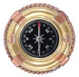 Ouderwets kompas op wit royalty-vrije stock afbeeldingen