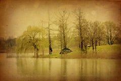 Ouderwets landschap royalty-vrije illustratie
