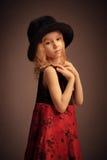 Ouderwets meisjesportret Stock Afbeelding