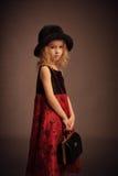 Ouderwets meisjesportret Royalty-vrije Stock Afbeeldingen