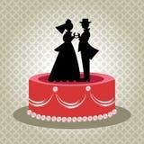Ouderwetse Bruid en Bruidegom Cake Topper Stock Foto's