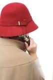 Ouderwetse de telefoonontvanger van de vrouwenholding Royalty-vrije Stock Foto's