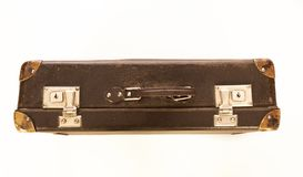Ouderwetse geïsoleerde koffer Foto van hierboven royalty-vrije stock afbeelding