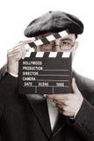 Ouderwetse mens en filmklep Royalty-vrije Stock Foto