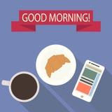 Ouderwetse ochtendscène: antieke schrijfmachine, kop van verse koffie, bedrijfscontract en pen Vlak Ontwerp Stock Afbeelding