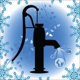 Ouderwetse pumb met bol in waterdruppeltje royalty-vrije illustratie