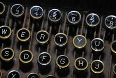 Ouderwetse schrijfmachine zeer belangrijke raad royalty-vrije stock foto's