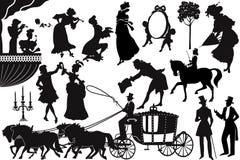 Ouderwetse silhouetten Stock Fotografie
