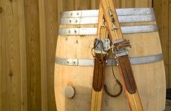 Ouderwetse skis Stock Foto's