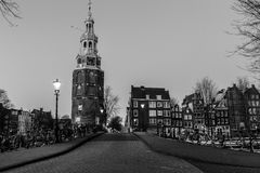Oudeschans Canal and Montelbaanstoren Tower in Amsterdam Royalty Free Stock Photo