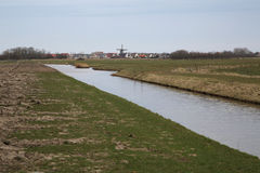 Oudeschild - Texel - 1. A creek and meadow around Oudeschild in Texel stock image