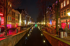Oudezijds Achterburgwal Canal in the De Wallen District Royalty Free Stock Images