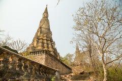 Oudong Chetdei Tray Treung, stupa innehåller rest av konungen Siso Royaltyfri Foto