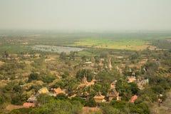 Oudong, vista orientale aerea Immagine Stock Libera da Diritti