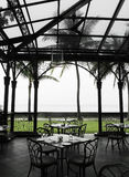 Oudoor al fresco dining area in heritage hotel Royalty Free Stock Photo