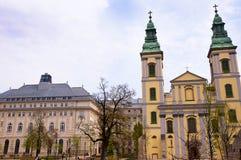 Oudste Kerk in Boedapest Hongarije stock afbeelding