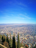 oudste stad in de zonnige dag van Georgia Tbilisi de mening van het hoogste punt Stock Fotografie