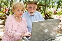 Oudsten op Computer - Schok stock foto's