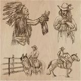 Ouest sauvage et Natifs américains - un paquet tiré par la main de vecteur ligne Photos libres de droits