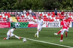 16 07 15 Oufa-jeunesse de la Moscou-jeunesse 2 ou 3 de Spartak, moments de jeu Image libre de droits