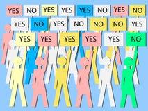 Oui électeurs de NO- - victoires de majorité Images stock