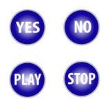 Oui aucun coutil et jeu, touches 'ARRÊT' dans la couleur bleue d'isolement sur le fond blanc illustration de vecteur