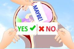 Oui aucun signez peut-être à disposition à l'arrière-plan de cerveau Image libre de droits