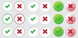 Oui aucune icône bien choisie de vote de vecteur de bouton de marque de contrôle Image libre de droits