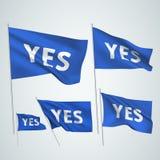 Oui - drapeaux bleus de vecteur Images libres de droits