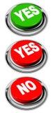 Oui et aucun bouton Photo libre de droits