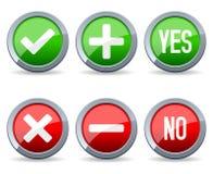 Oui et aucuns boutons lustrés Images stock