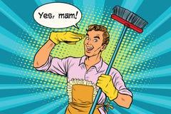Oui mari de maman et nettoyage de la maison illustration stock