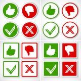 Oui, non, pouces à travers des icônes aiment et à la différence du symbole Images stock