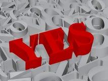 Oui - texte 3d Image libre de droits