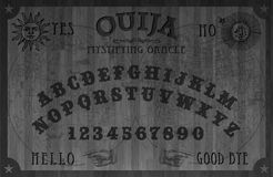 Oujia Board Wood Black Magical. Ouija Board Wood Black Magic old retro weejee spirits witchcraft Sun Moon Game Mystic Stock Image