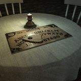 Ouija table in a dark room stock illustration
