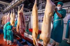 Oulan-Oude, Russie - 1er mars 2016 : Usine pour la production de la viande de porc Images stock