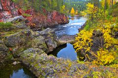 Oulanka canyon in autumn. Royalty Free Stock Photos