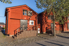 OULU, FINLAND - JULY 21, 2016: Old wooden warehouses stock image