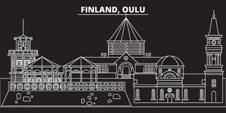 Oulu silhouette skyline. Finland - Oulu vector city, finnish linear architecture, buildings. Oulu travel illustration. Oulu silhouette skyline. Finland - Oulu Royalty Free Stock Photo